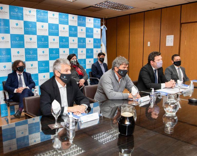 Conferencia de prensa que realizó ayer el Enacom