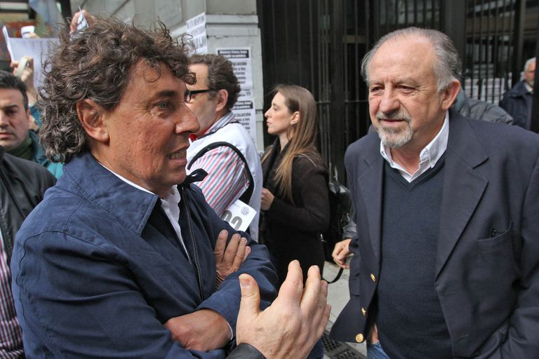 Pablo Micheli, Secretario General de la Central de Trabajadores de la Argentina Autónoma (CTA-A), y Hugo Yasky, Secretario General de la Central de Trabajadores de la Argentina (CTA)