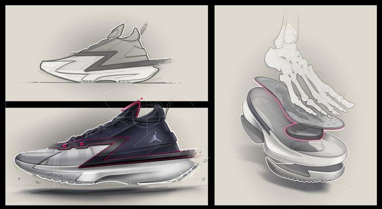 El armado especial de las zapatillas de Zion Williamson, dados su peso y su movilidad.