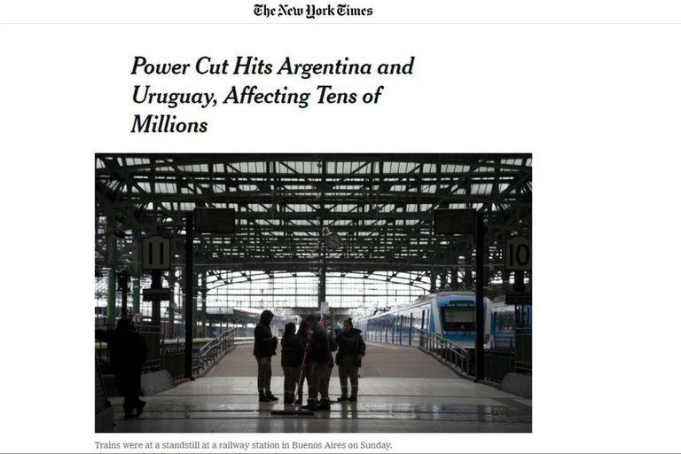 The New York TImes le dio centralidad al corte masivo de luz de Argentina y Uruguay