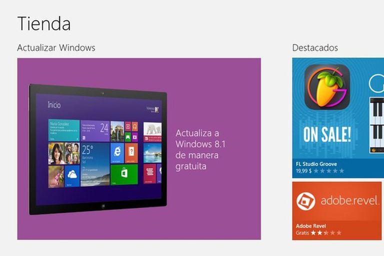 Así aparece el aviso de actualización en la tienda de Windows