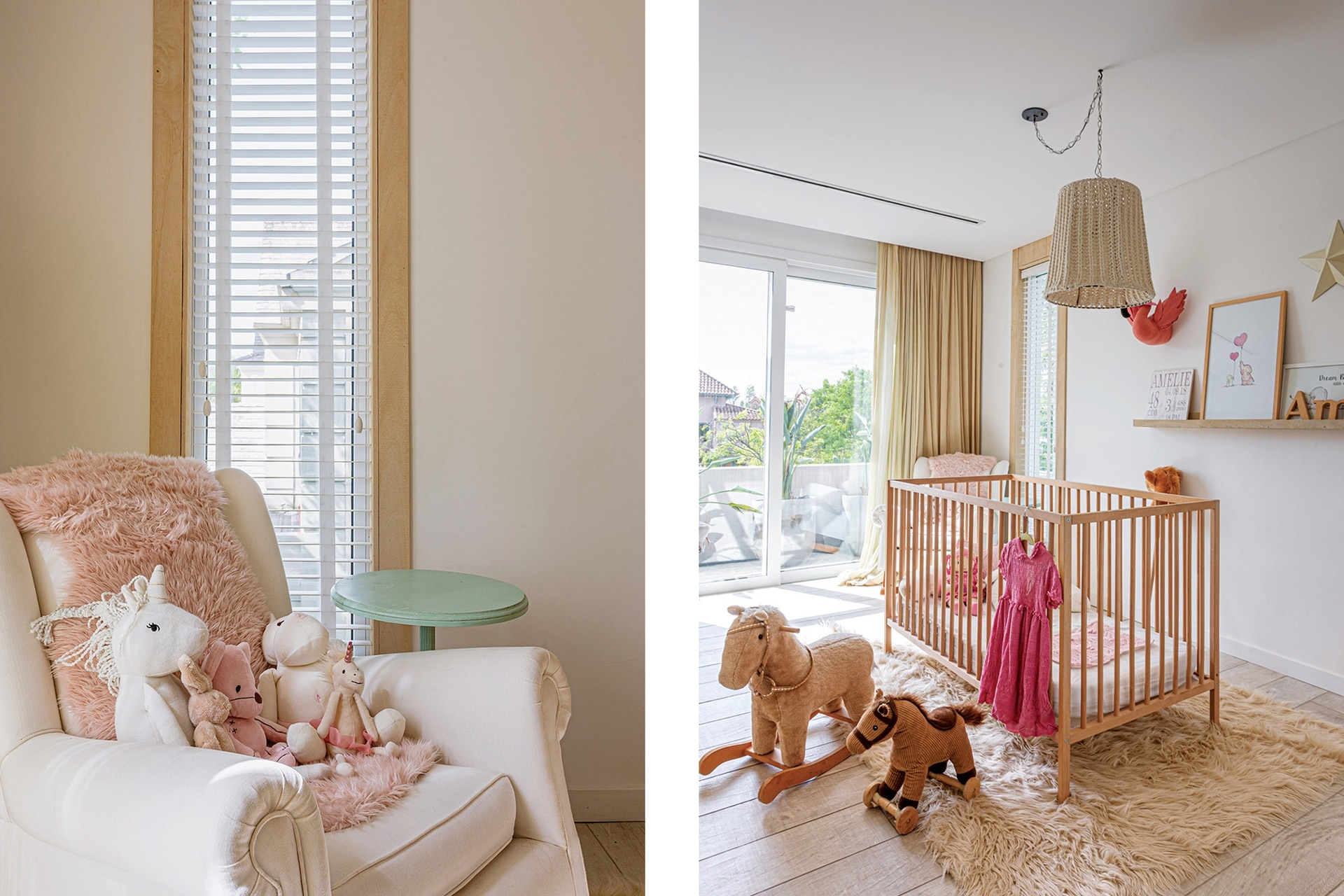 En el cuarto de la más pequeña: cuna (Ikea) sobre alfombra (Mihran). Caballo mecedor (La Blancherie).