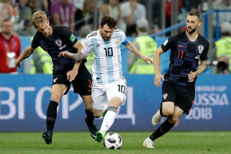 Messi, en el partido con Croacia durante Rusia 2018, que terminó con una goleada por 3 a 0 en contra