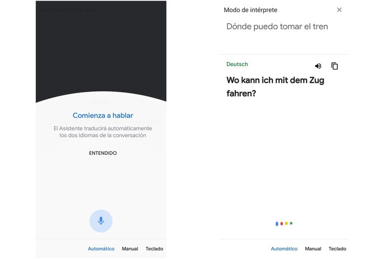 La interfaz del traductor simultáneo integrado con Google Assistant