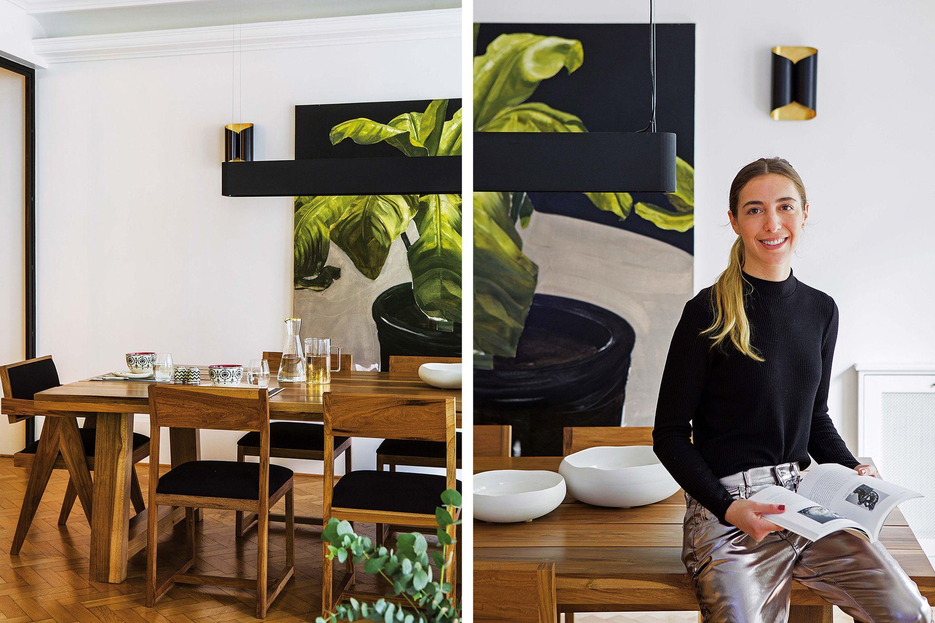 La pintura de Fernando O'Connor enfatiza la gama elegida y actúa como cabecera del ambiente. La arquitecta Josefina Nano, a cargo de la reforma y dueña de casa.