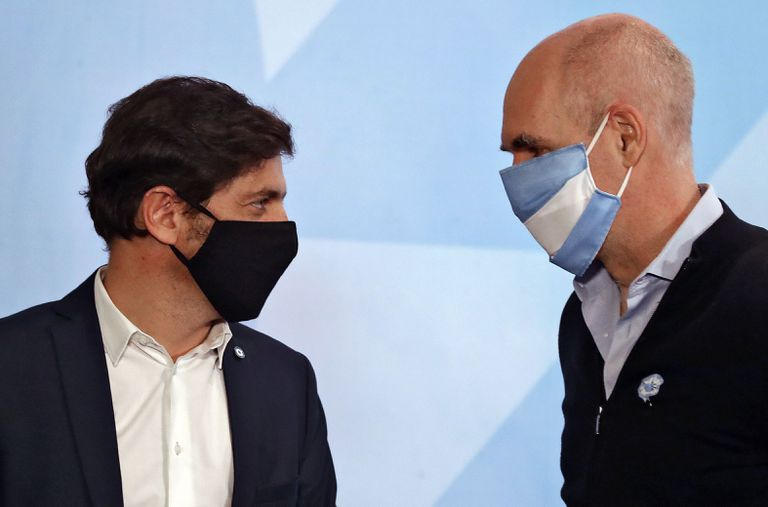 Rodriguez Larreta y Axel Kicillof, en un anuncio por la pandemia