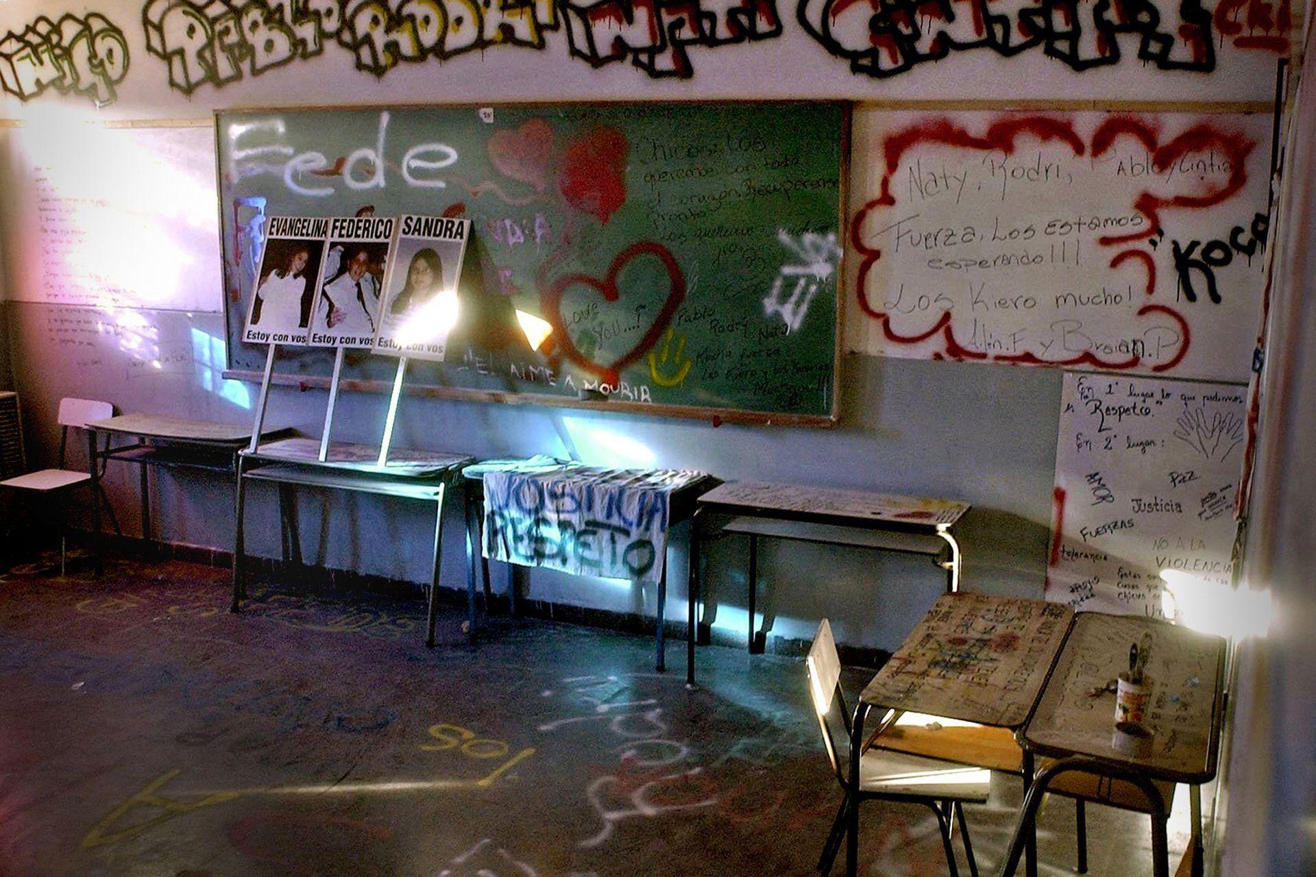El aula en la que ocurrió la masacre; hoy allí no se dan clases