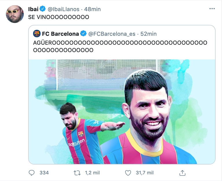 Ibai festejó la llegada del Kun al Barcelona