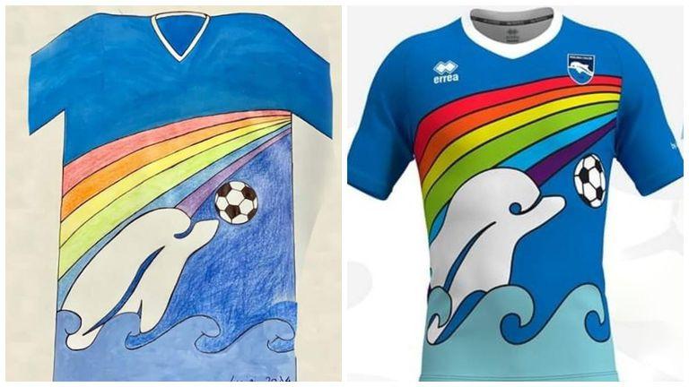 Un niño de solo 6 años, en cuarentena, diseñó la camiseta de un equipo italiano