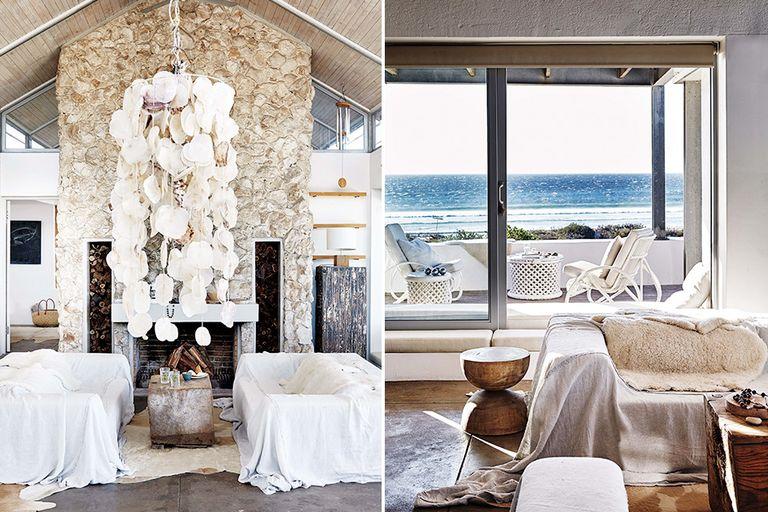 En el sector del living, mesita ratona de madera recuperada, lámpara colgante hecha por Caroline con caracoles que encontró en la playa y sillones cubiertos por géneros hasta el piso y texturas superpuestas para menos rigidez y más relax
