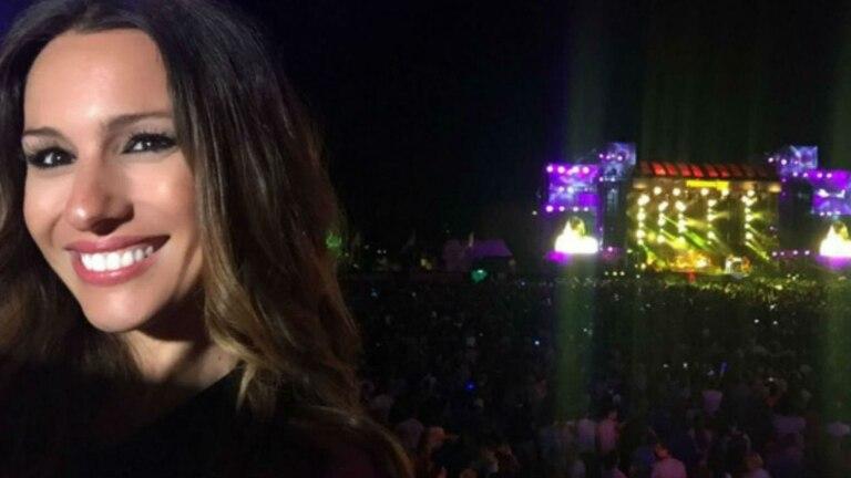 Pampita y una gran vista del escenario del Personal Fest 2016