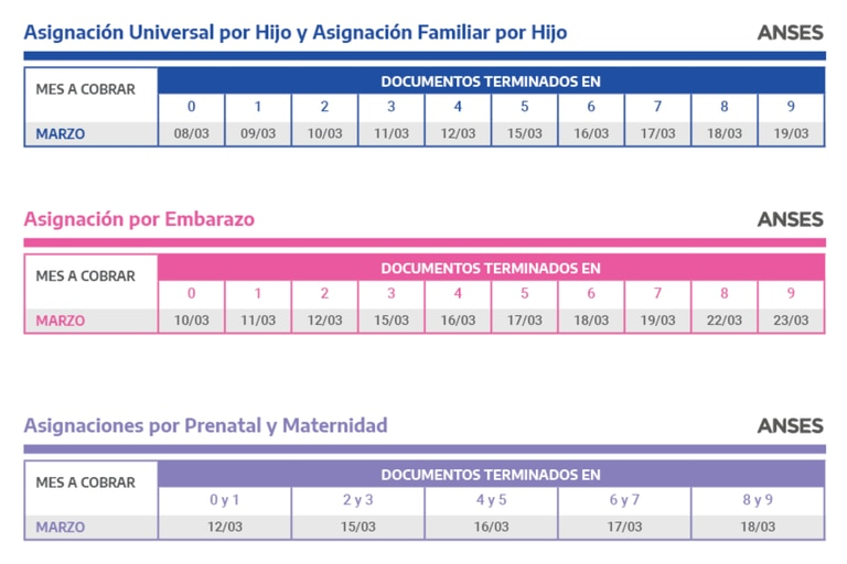 Calendarios de pago de marzo de AUH, AUE y Asignaciones por Prenatal y Embarazo