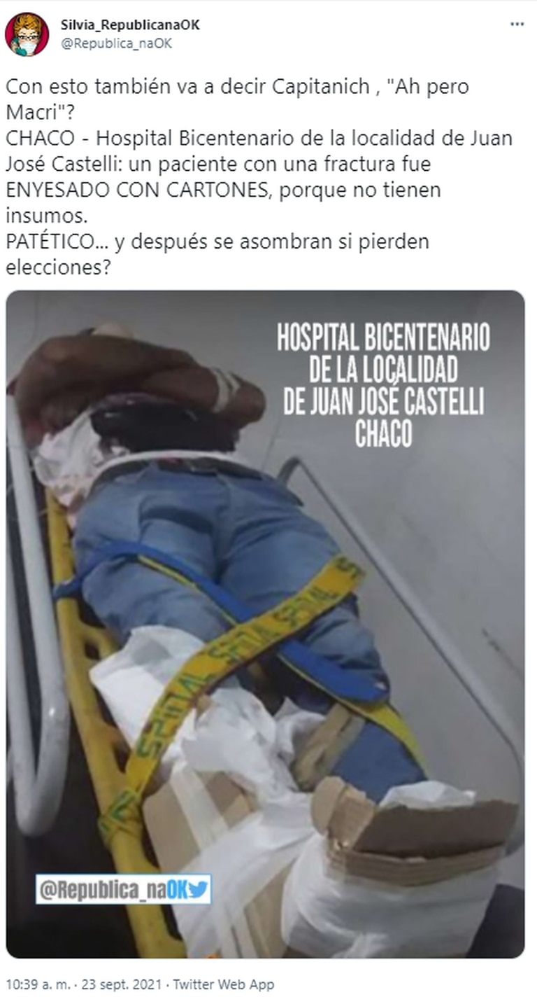 En Twitter, los usuarios apuntaron contra el Gobernador de Chaco por tener hospitales sin insumos como para atender una fractura