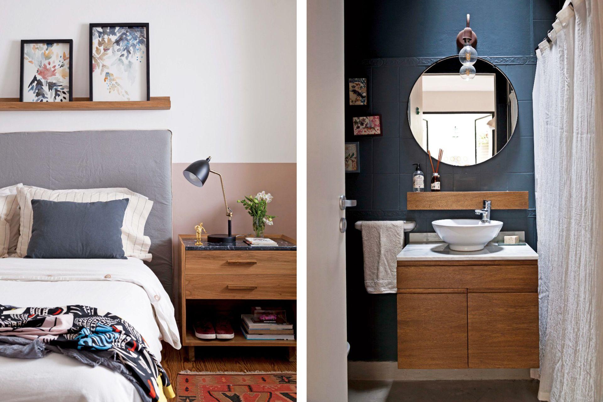 El baño se actualizó con una mano de pintura oscura sobre los azulejos, un vanitory colgante de petiribí, un espejo circular y un estante hueco de madera, que cubre la antigua jabonera empotrada.