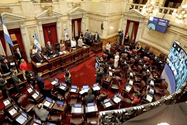La presidenta del Senado, Cristina Kirchner, abrió la sesión especial, con la izamiento de la bandera por parte de la legisladora Nancy González