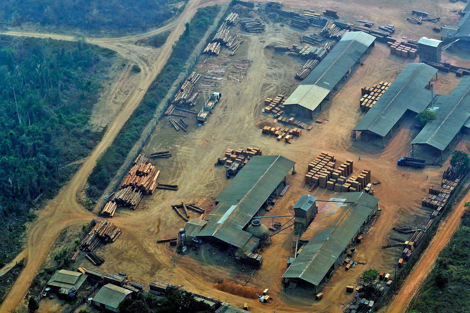 Vista de uno de los tantos aserraderos que hay en el Amazonas, este está ubicado en Jaci Paraná, estado de Rondonia, Brasil,