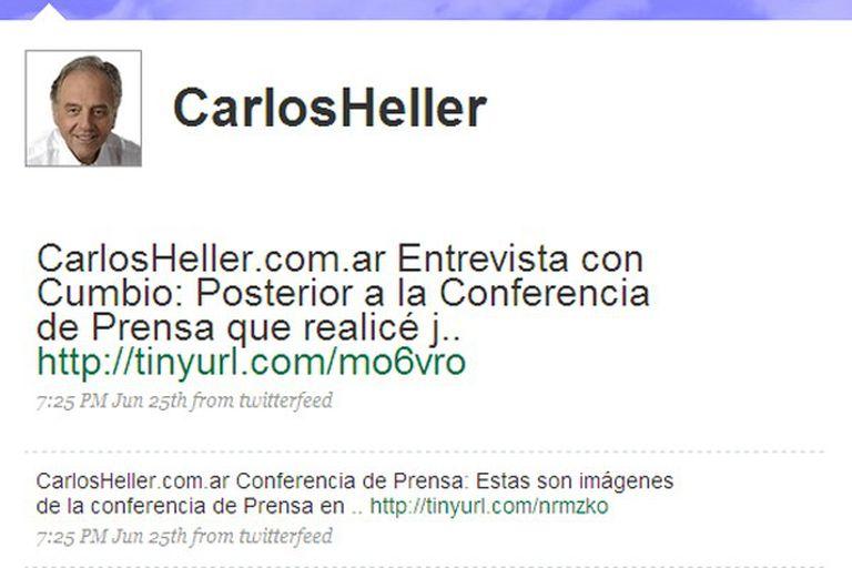 Así se veía a las nueve de la mañana del domingo el usuario de Carlos Heller en Twitter, sin actualización desde el comienzo de la veda