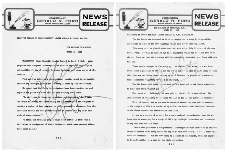These Congressional press releases from then-House Minority Leader, Gerald Ford, called for an investigation into UFO sightings in 1966. ( Box D9, folder Ford Press Releases-UFO 1966 of the Ford Congressional Papers: Press Secretary and Speech File at the Gerald R. Ford Presidential Library.)