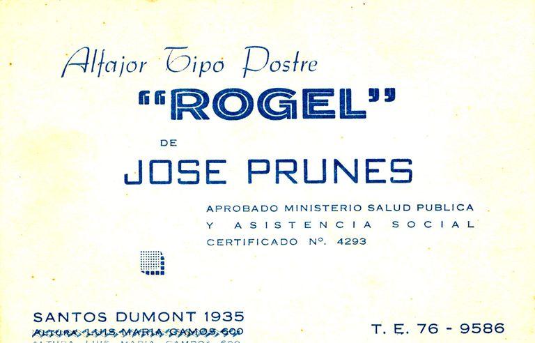 La tarjeta comercial de José Prunes, el marido de Rogelia, y la dirección en Las Cañitas. Ellos bautizaron al postre.