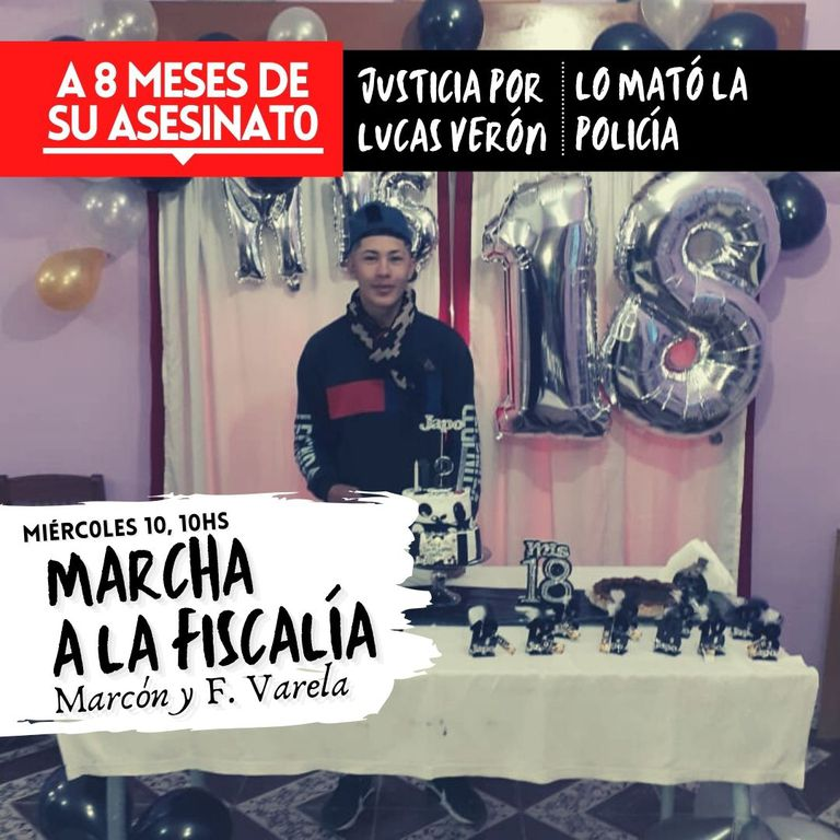 Afiche de la marcha por el asesinato de Lucas Verón en La Matanza