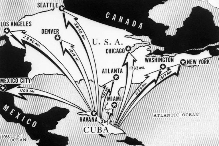 Este gráfico de un periódico de la época muestra el alcance que tenían los misiles soviéticos instalados en Cuba