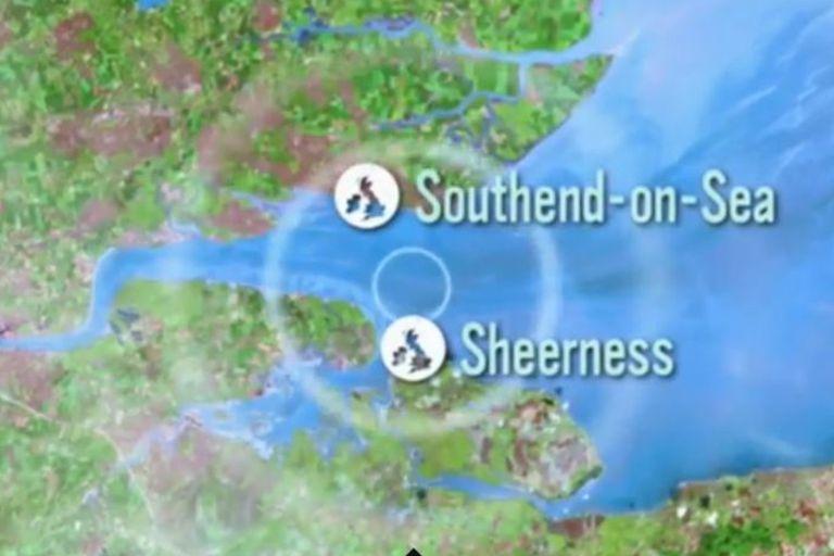 EL tsunami que podría producir el estallido de la carga explosiva del SS Montgomery afectaría dos localidades costeras del estuario del río Támesis: Southend-on-Sea y Sheerness