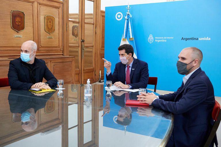 """La reunión del ministro del interior, Eduardo """"Wado"""" de Pedro, con Horacio Rodríguez Larreta y Martín Guzmán"""