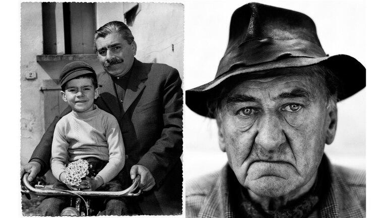 El fotógrafo Danilo De Marco en su niñez junto a su padre también Danilo apodado Bigotes en Udine en el año 1957, foto de Amerigo Brecht. A la derecha Sergio Cocetta, partisano italiano apodado Cid
