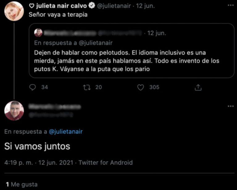 Un usuario insultó a Julieta Nair Calvo en Twitter por usar lenguaje inclusivo