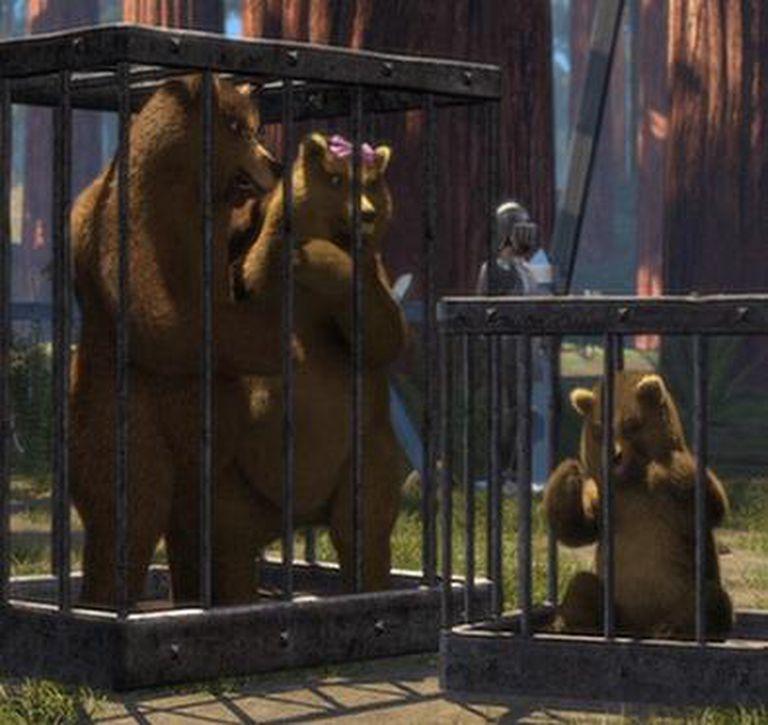 """Mamá Oso, Papá Oso y Osito, enjaulados en """"Shrek"""" (2001)"""