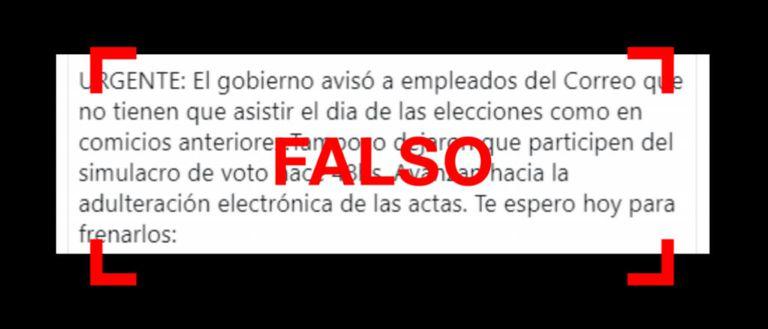 El Gobierno no avisó a los empleados de Correo que no asistan a las elecciones
