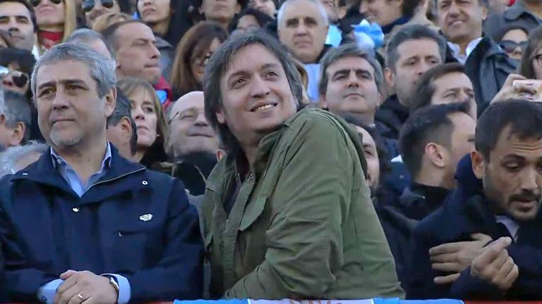 Máximo Kirchner acompañó a su madre en el acto de Arsenal