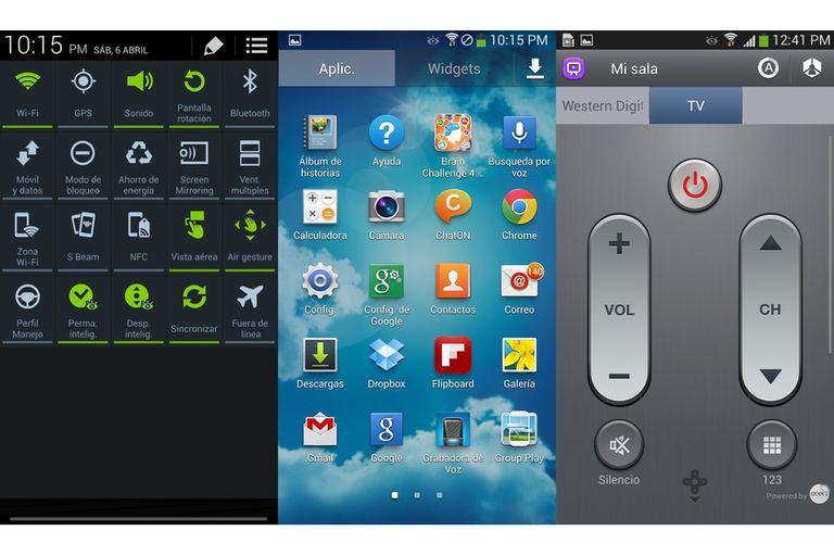 Tres vistas de la interfaz: los botones de control de la barra de notificaciones, el aspecto general y la aplicación para usarlo de control remoto