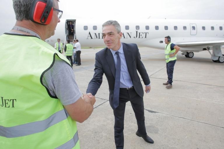 El ministro Meoni, en enero, cuando la empresa inauguró la ruta Buenos Aires - Termas de Río Hondo para el público general