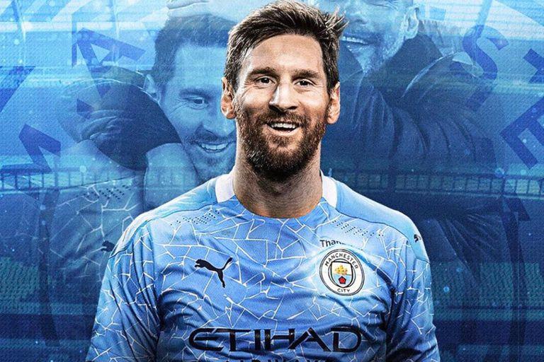 Un montaje que pronto será realidad: Messi con la camiseta de Manchester City