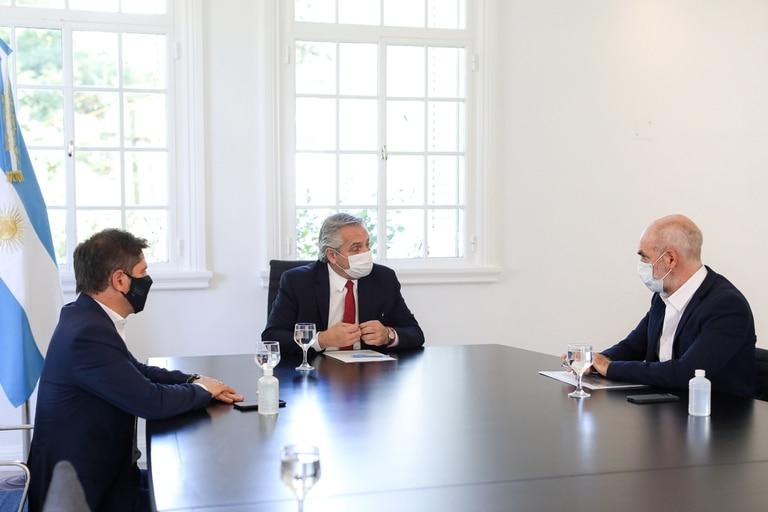Reunión entre el Presidente Alberto Fernández, el Gobernador por Buenos Aires Axel Kicillof y el Jefe de Gobierno de la Ciudad de Buenos Aires Horacio Rodriguez Larreta.