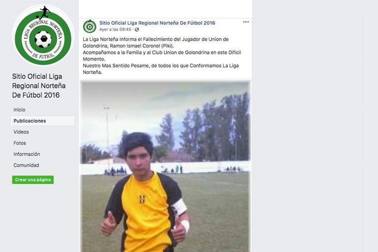 El anuncio en el Sitio Oficial Liga Regional Norteña De Fútbol 2016
