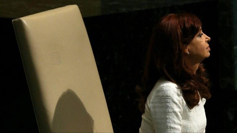 La presidenta Cristina Kirchner, ayer, durante su discurso ante la Asamblea General de las Naciones Unidas