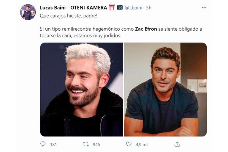 Uno de los tuits que se hicieron eco del cambio estético de Zac Efron
