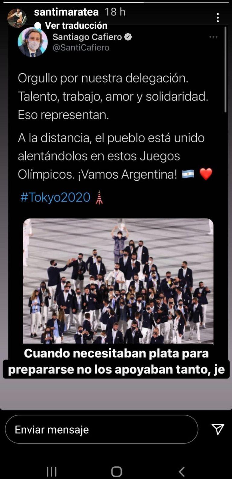 La historia de Instagram en la que Maratea cruzó a Cafiero por los atletas argentinos que habían quedado afuera del Campeonato Sudamericano