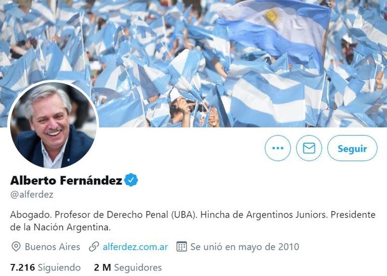 Alberto Fernández en Twitter