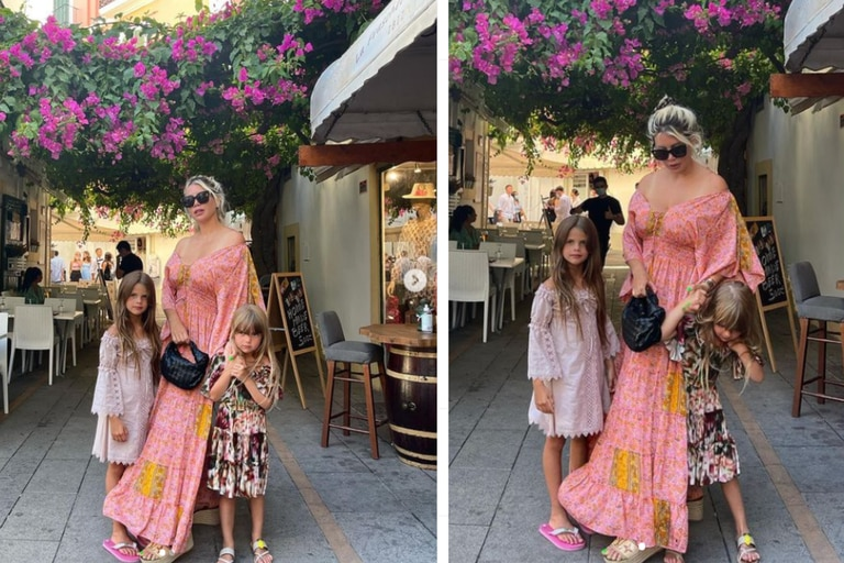 """""""Instagram vs. realidad"""", la postal de Wanda Nara que muestra el detrás de escena con sus dos hijas, Francesca e Isabella"""