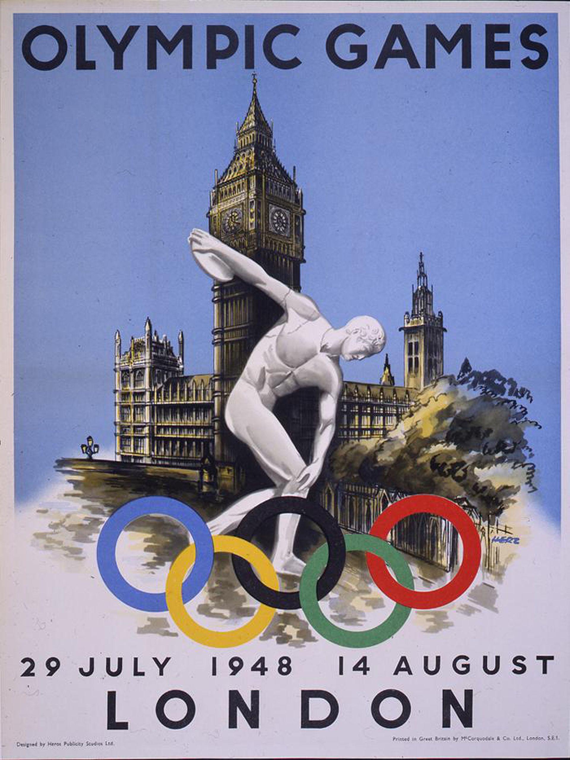 Afiche oficial de los Juegos Olímpicos de 1948.