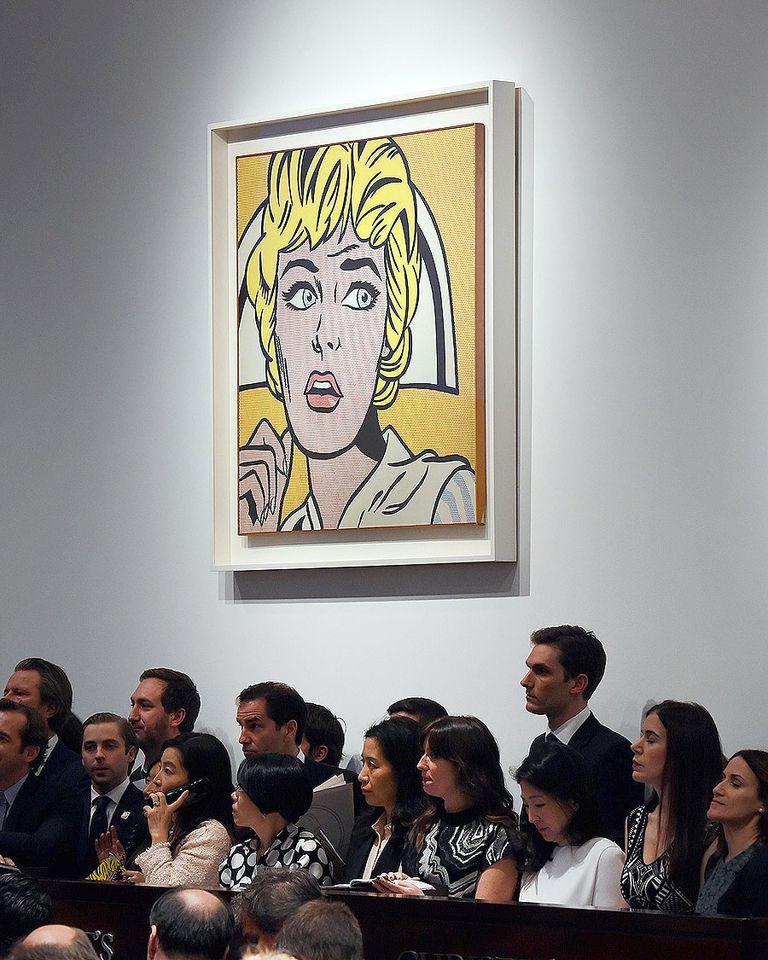 La obra de Lichtenstein, durante el remate