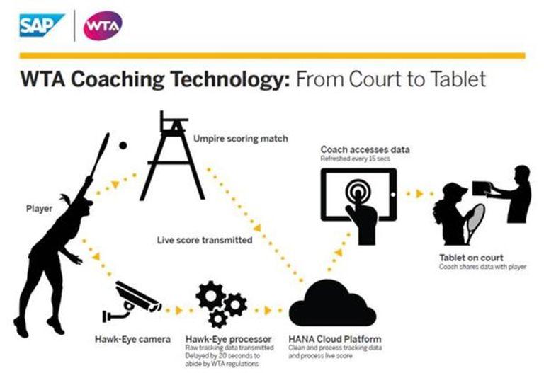 El circuito que vincula el juego del tenista, el registro de sus golpes y movimientos y la aplicación útil para los entrenadores