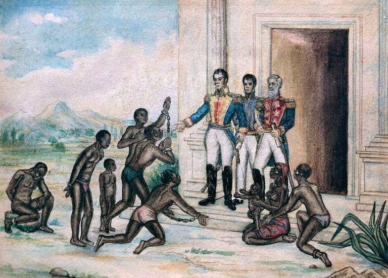 Bolívar dictó varios decretos que buscaban una profunda reforma social, quiso abolir la esclavitud y mejorar la vida de los indígenas. Acuarela sobre papel de Fernández Luis Cancino
