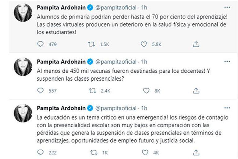 Los furiosos tuits de Pampita Ardohain por la suspensión de clases presenciales