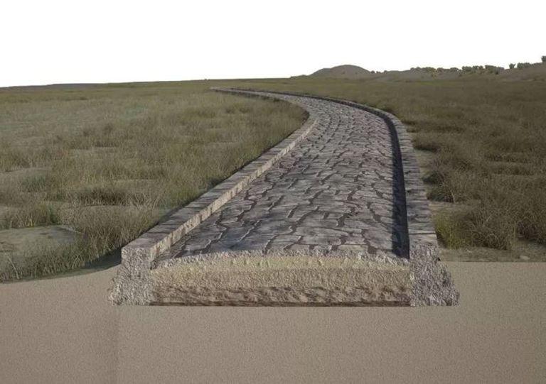 22-07-2021 Aquí, una reconstrucción de la calzada del canal Treporti en rimas romanas. La laguna de Venecia habría estado a la izquierda de la carretera y el mar Adriático a la derecha. POLITICA INVESTIGACIÓN Y TECNOLOGÍA A. CALANDRIELLO Y G. D'ACUNTO/SCIENTIFIC REPORTS