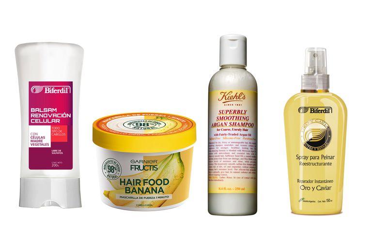Bálsamo de renovación celular, $209, Biferdil; Hairfood banana, $198, Garnier Fructis; Shampoo con óleo de argán, $950, Kiehl´s; Spray oro y caviar, $194, Biferdil.