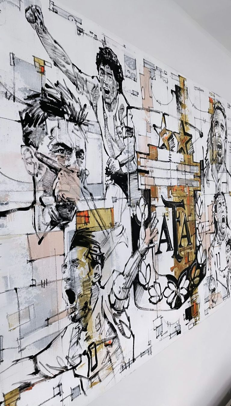Messi, Dybala, Maradona, Batistuta y Tevez en otro de los murales